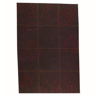M.A.Trading Hand-knotted Rose Brown Floral Wool Rug (4'6 x 6'6)