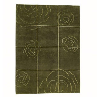 M.A.Trading Hand-knotted Rose Green Floral Wool Rug (8'3 x 11'6)