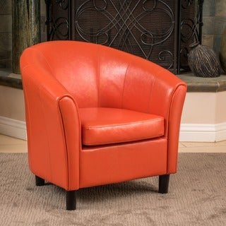 High Quality Napoli Orange Bonded Leather Club Chair By Christopher Knight Home
