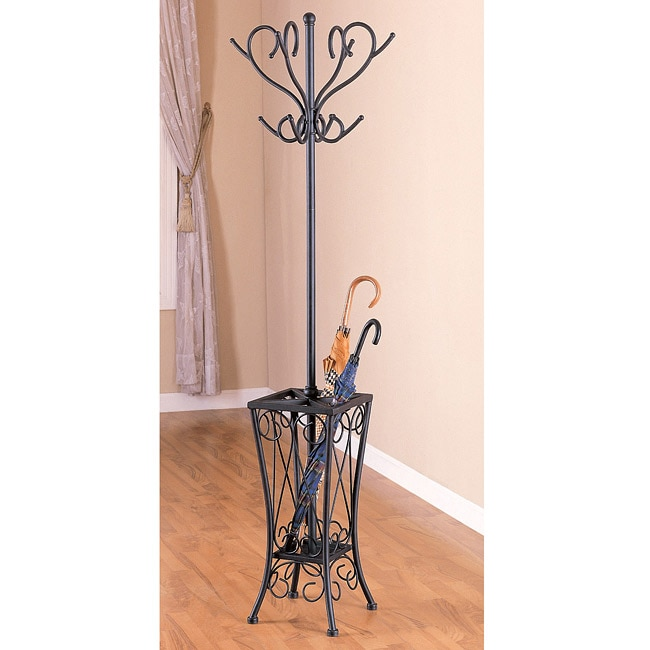 Metal Black Coat Rack with Umbrella Stand - Thumbnail 0