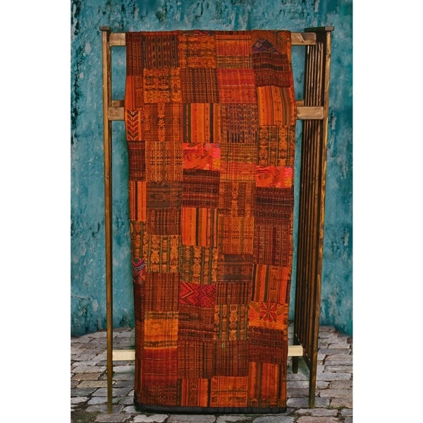 Handmade Rust Patchwork Quilt Set (Guatemala)