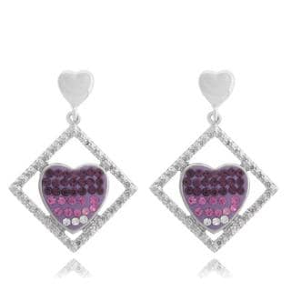 Dolce Giavonna Sterling Silver White, Pink and Purple Crystal Framed Heart Earrings