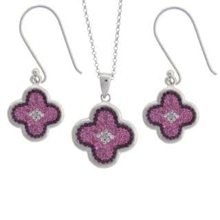 Dolce Giavonna Sterling Silver Pink, Purple and White Crystal Clover Design Jewelry Set