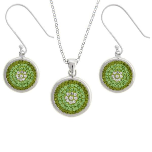 Dolce Giavonna Sterling Silver Green and White Crystal Circle Design Jewelry Set
