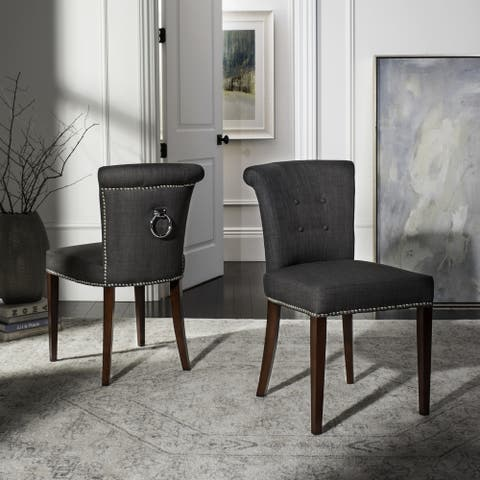 """Safavieh Dining Carrie Charcoal Grey Dining Chairs (Set of 2) - 19.5"""" x 24.2"""" x 33.4"""""""