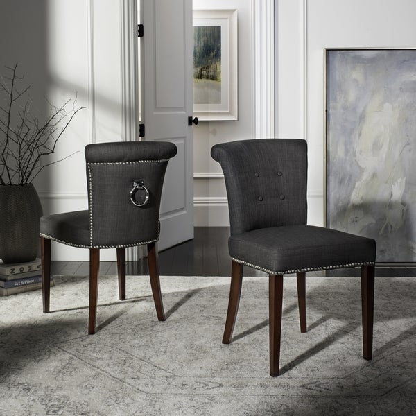 Safavieh En Vogue Dining Carrie Charcoal Grey Dining Chairs (Set ...