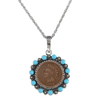 American Coin Treasures Indian Head Penny and Turquoise Bead Pendant Necklace