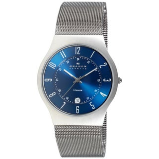 Skagen Men's 233XLTTN Titanium Blue Dial Watch - silver