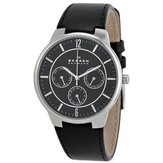 Skagen Black Leather Stainless Steel Men's Watch