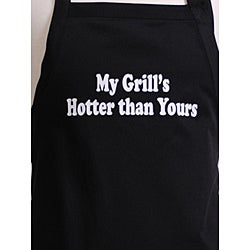 'My Grill's Hotter than Yours' Men's Black Apron