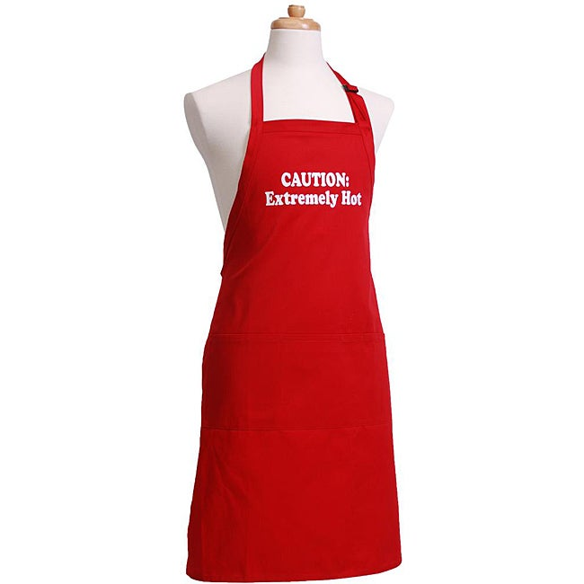 'Caution Extremely Hot' Men's Flirty Red Apron
