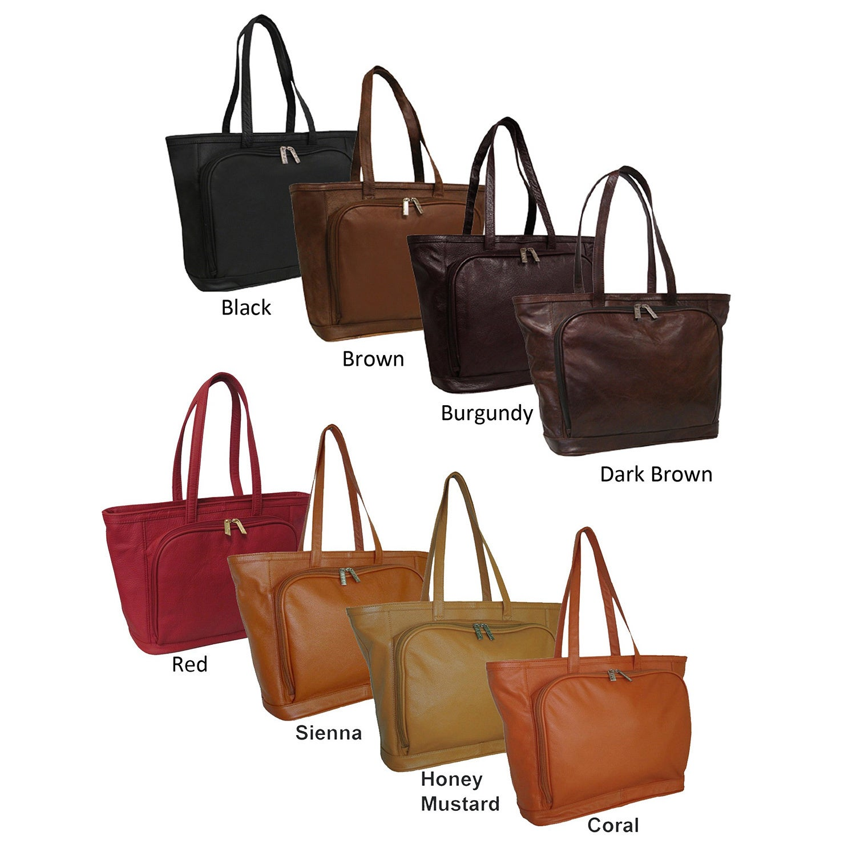 Amerileather Cosmopolitan Leather Zip-Top Tote Bag (Burgu...