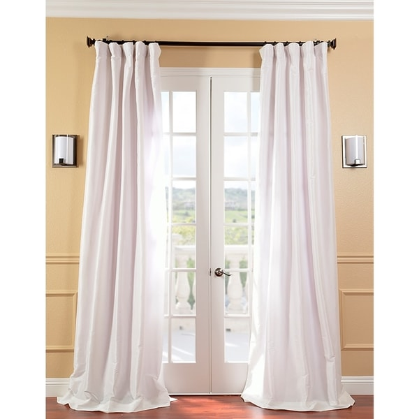 Exclusive Fabrics Signature Cream Faux Silk Taffeta Curtain Panel