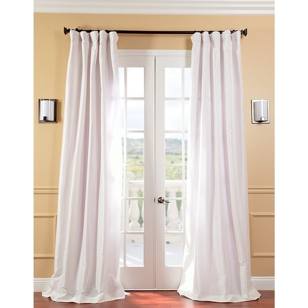 Exclusive Fabrics Signature Cream Faux Silk Taffeta 120-inch Curtain Panel