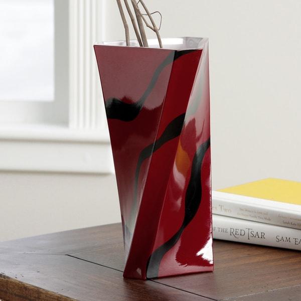 Red Zebra Glass Vase