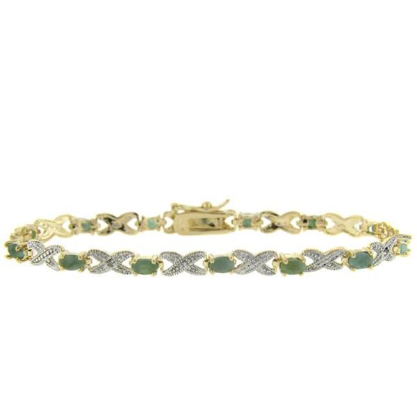 Dolce Giavonna 18k Yellow Gold over Silver Emerald and Diamond Accent Bracelet