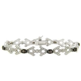 Dolce Giavonna Sterling Silver Smokey Quartz and Diamond Accent Bracelet