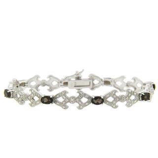 Dolce Giavonna Sterling Silver Smokey Quartz and Diamond Accent Bracelet