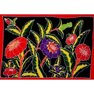 Handmade 1 World Sarongs Women's Hand-Painted Floral Sarong (Indonesia)