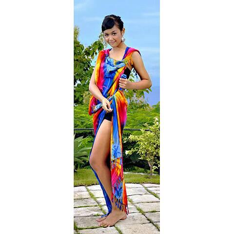Handmade 1 World Sarongs Women's Plus-Size Rainbow Tie-dye Sarong (Indonesia)