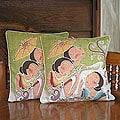 Handmade Set of Two Cotton 'Lanna Ladies Charm' Cushion Covers (Thailand)