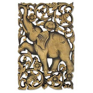 Handcrafted By Wood Walk In The Jungle Brown Relief Panel Sculpture (Thailand)