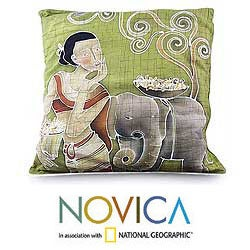 Set of 2 Cotton 'Flowery Day' Cushion Covers (Thailand)