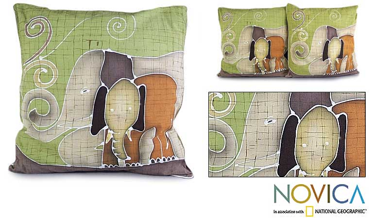 Handmade Set of 2 Cotton 'Elephant's Reminiscences' Cushion Covers (Thailand) - Thumbnail 0