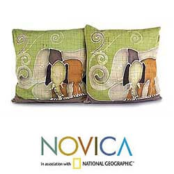 Handmade Set of 2 Cotton 'Elephant's Reminiscences' Cushion Covers (Thailand) - Thumbnail 1