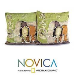 Set of 2 Cotton 'Elephant's Reminiscences' Cushion Covers (Thailand)