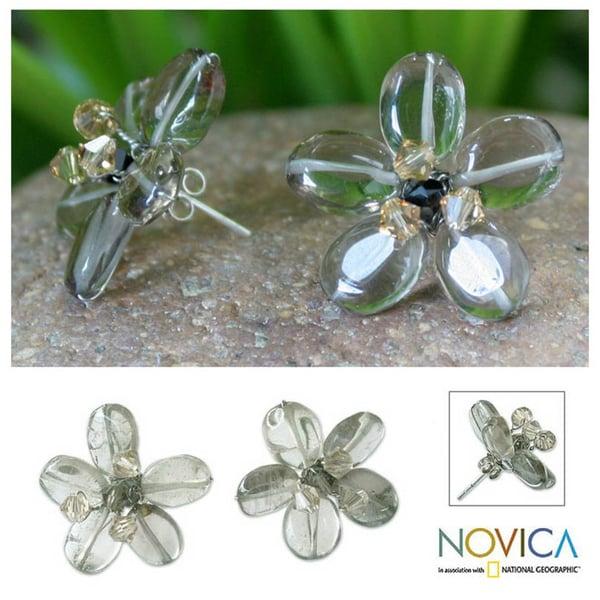 Smoky Quartz 'Mysterious Flower' Button Earrings (Thailand)