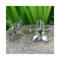 Handmade Smoky Quartz 'Mysterious Flower' Button Earrings (Thailand)