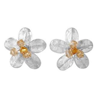 Handmade Citrine 'Yellow Flower' Button Earrings (Thailand)