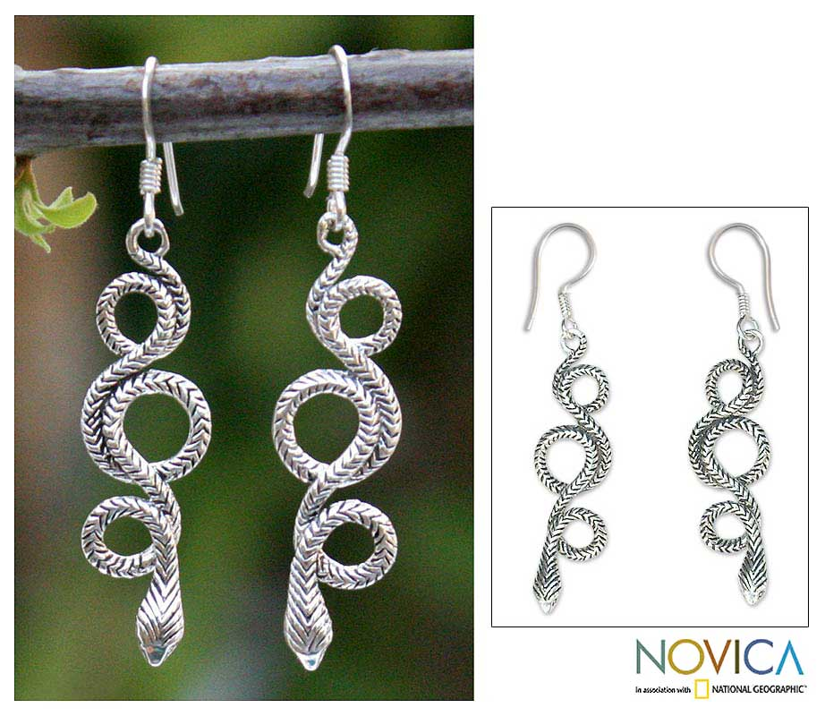 Handmade Sterling Silver 'Infinity Serpent' Dangle Earrings (Thailand)