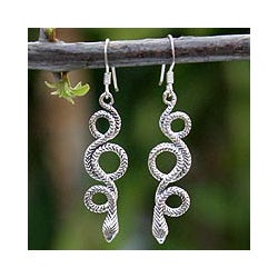 Sterling Silver 'Infinity Serpent' Dangle Earrings (Thailand)
