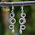Handmade Sterling Silver 'Infinity Serpent' Dangle Earrings (Thailand)
