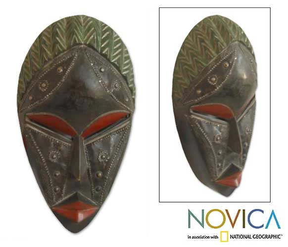 Hand-carved Wood 'Relax' Mask (Ghana)