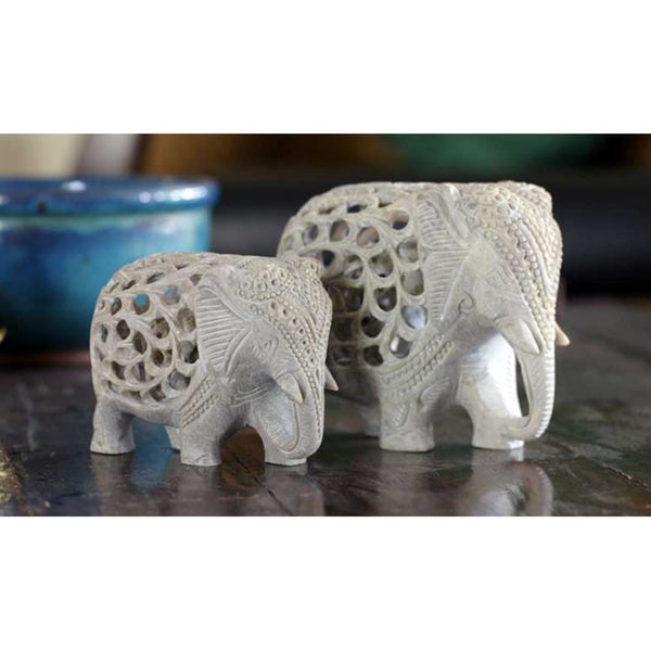 Soapstone 'Elephant Duet' Sculptures (Set of 2)