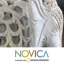 Handmade Soapstone 'Elephant Duet' Sculptures (Set of 2) (India) - Thumbnail 2