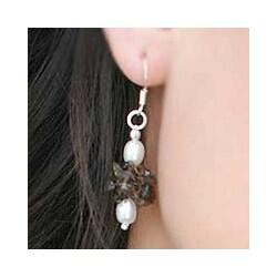 Handmade Pearl and Smoky Quartz Earrings (India)