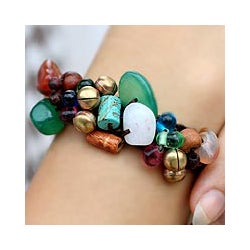 'Dark Phoenix' Rose Quartz and Gemstone Beaded Bracelet (Thailand)