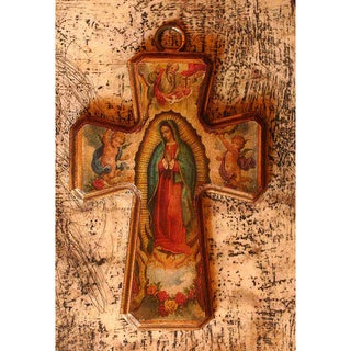 Handmade Pinewood 'Guadalupe Queen of Heaven' Decoupage Cross (Mexico)