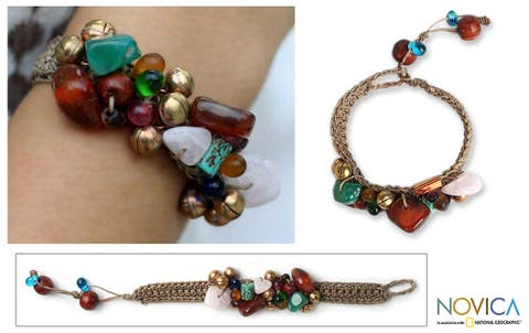 Antique Exuberance' Gemstone Beaded Bracelet