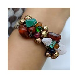 Handmade 'Antique Exuberance' Gemstone Beaded Bracelet (Thailand)