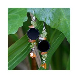 Sterling Silver 'Radiant Night' Onyx and Peridot Earrings (Thailand)