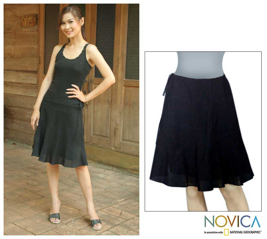 Handmade Black 'Summer Night' Cotton Skirt (Thailand) - Free ...