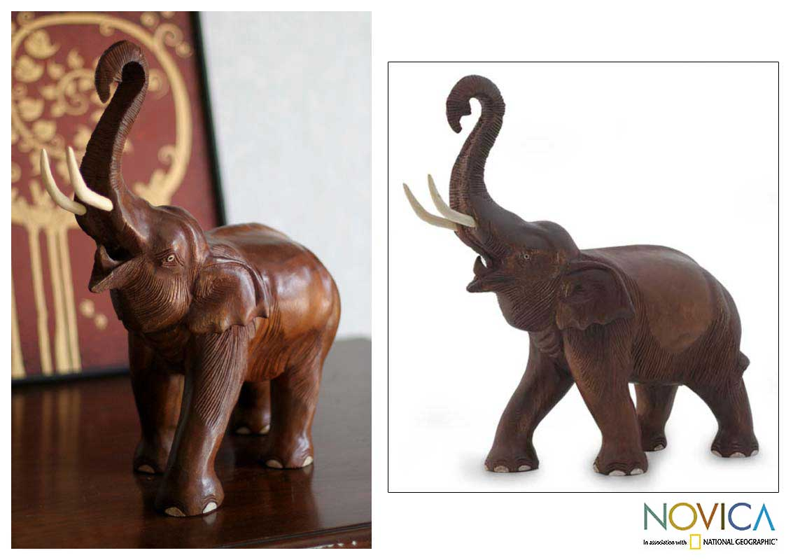 Joy Handcrafted Brown Rain Wood Elephant Figurine with Raised Trunk ...