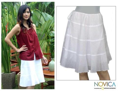 Handmade 'Thai Summer Day' White Cotton Skirt (Thailand)