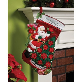 Shop Bucilla Santa Poinsettia Tree Felt Stocking Kit