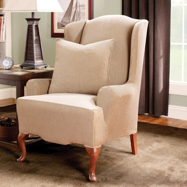 Sure Fit Stretch Stripe Wing Chair Slipcover 12972104